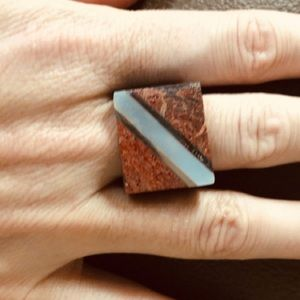 Gorgeous coral shell Inlay Cocktail Ring